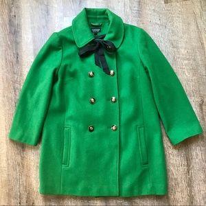 Topshop emerald green pea coat
